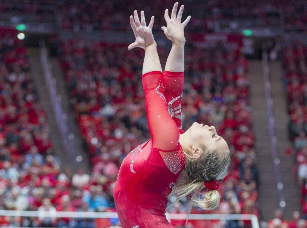 University of Utah women's gymnastics freshman Sydney Soloski performs on the floor in a duel meet vs. Brigham Young University at the Jon M. Huntsman Center in Salt Lake City, Utah on Friday, Jan. 5, 2018.  (Photo by Kiffer Creveling | The Daily Utah Chronicle)
