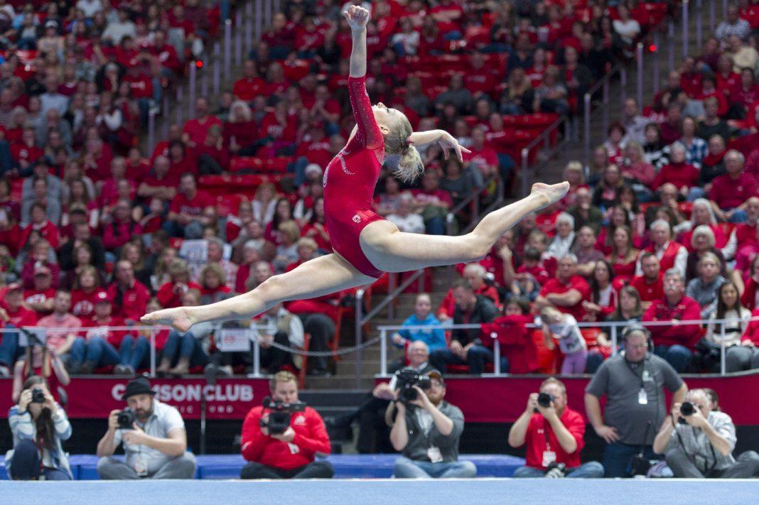 University of Utah women's gymnastics junior MaKenna Merrell-Giles performs on the floor in a duel meet vs. Brigham Young University at the Jon M. Huntsman Center in Salt Lake City, Utah on Friday, Jan. 5, 2018.  (Photo by Kiffer Creveling   The Daily Utah Chronicle)