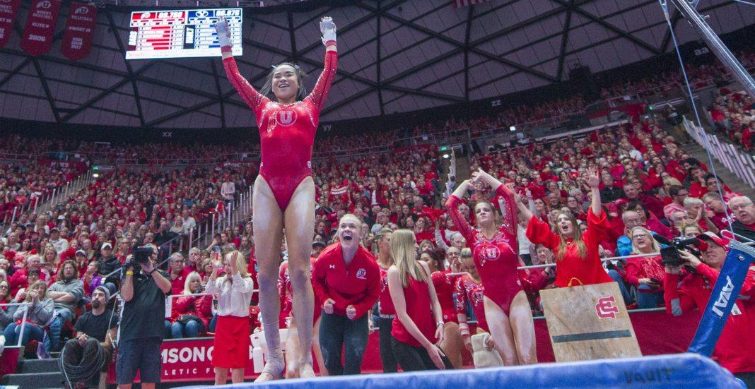 University of Utah women's gymnastics sophomore Kim Tessen performs on the uneven bars in a duel meet vs. Brigham Young University at the Jon M. Huntsman Center in Salt Lake City, Utah on Friday, Jan. 5, 2018.  (Photo by Kiffer Creveling | The Daily Utah Chronicle)