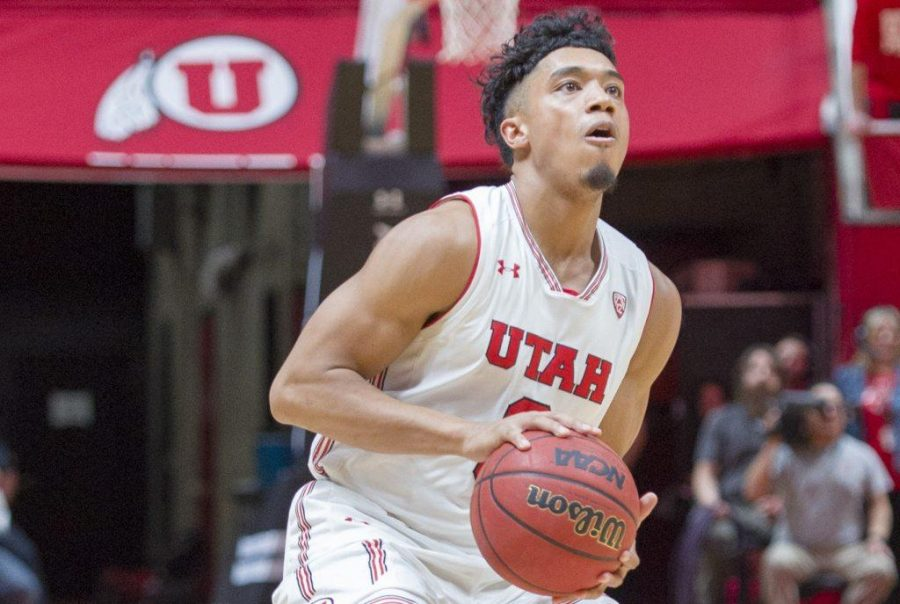 University+of+Utah+junior+guard+Sedrick+Barefield+%280%29+prepares+for+a+three+point+shot+during+an+NCAA+Basketball+game+vs.+Arizona+State+University+Sun+Devils+at+the+Jon+M.+Huntsman+Center+in+Salt+Lake+City%2C+Utah+on+Sunday%2C+Jan.+7%2C+2018.%0A%0A%28Photo+by+Kiffer+Creveling+%7C+The+Daily+Utah+Chronicle%29