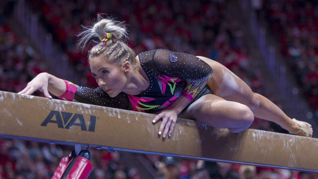 University of Utah women's gymnastics sophomore MyKayla Skinner performs on the balance beam in a dual meet vs. The Oregon State Beavers at the Jon M. Huntsman Center in Salt Lake City, Utah on Friday, Jan. 19, 2018.  (Photo by Kiffer Creveling | The Daily Utah Chronicle)