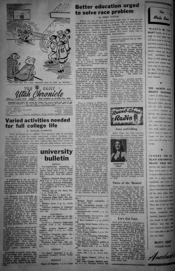 Old Chronicle articles that show a racist  anti-black perspective at the Daily Utah Chronicle and on campus in Salt Lake, UT on Wednesday, Jan. 31, 2018(Photo by Adam Fondren | Daily Utah Chronicle)