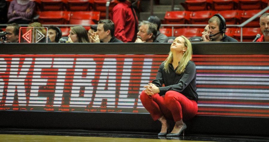 Head Coach Lynne Roberts closes her eyes as the Lady Utes loose to the Colorado Buffalos at the Huntsman Center in Salt Lake, UT on Thursday, Feb. 1, 2018  (Photo by Adam Fondren | Daily Utah Chronicle)