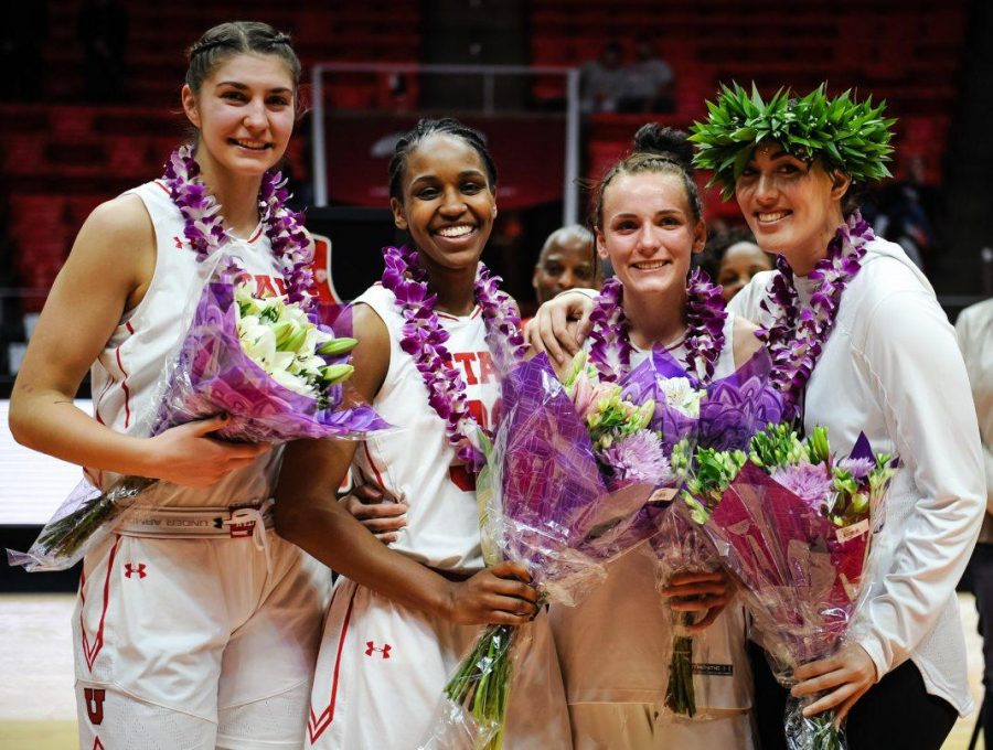 Emily+Potter%2C+Tanaeya+Boclair%2C+Tilar+Clark+and+Wendy+Anae+after+their+final+game+against+the+Lady+Huskies+from+the+University+of+Washington+at+the+Huntsman+Center+in+Salt+Lake+City%2C+UT+on+Sunday%2C+Feb.+18%2C+2018%0A%0A%28Photo+by+Adam+Fondren+%7C+Daily+Utah+Chronicle%29
