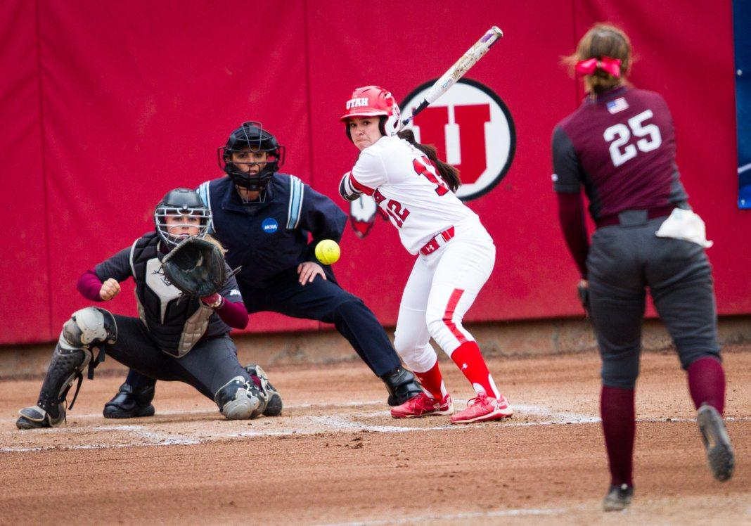 Fordam senior right handed pitcher/infielder Lauren Quense (25) delivers a pitch to University of Utah Women's Softball Team freshman utility BreOnna Castaneda (12) in an NCAA Regional Game vs. The Fordam Rams at Dumke Family Softball Stadium, Salt Lake City, UT on Thursday, May 18, 2017  (Photo by Adam Fondren | Daily Utah Chronicle)