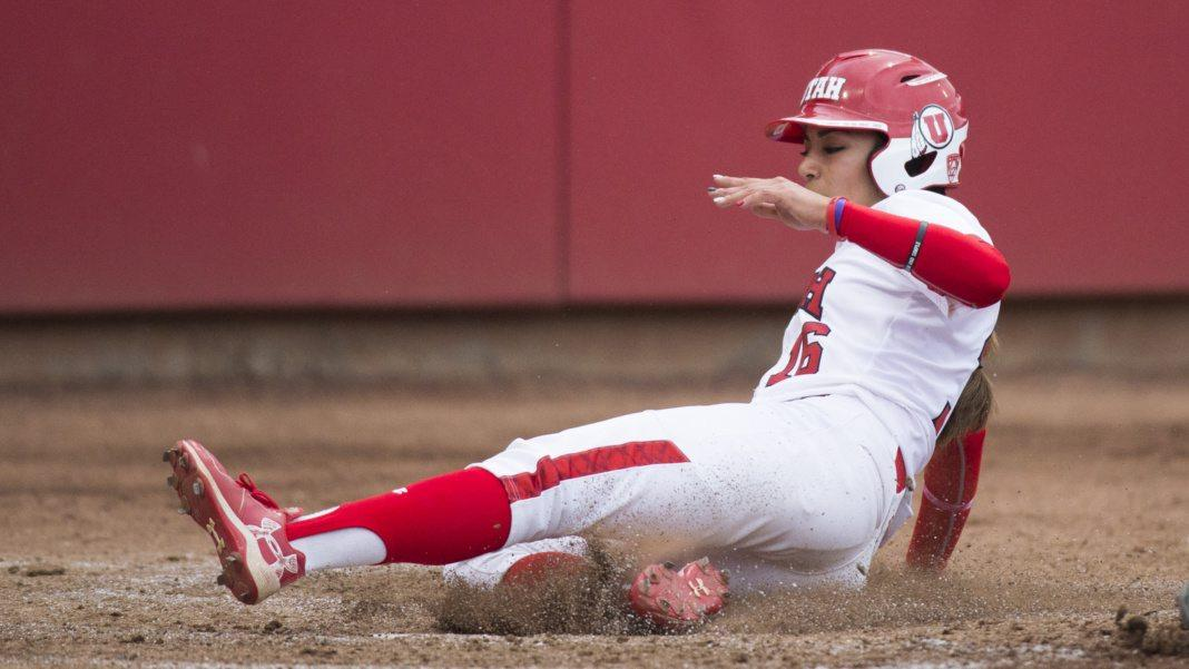 University of Utah Women's Softball Team freshman outfielder Alyssa Barrera (16) slides into home plate in an NCAA Regional game vs. the Fordham Rams at Dumke Family Softball Stadium on Thursday, May 18, 2017  (Photo by Kiffer Creveling | The Daily Utah Chronicle)