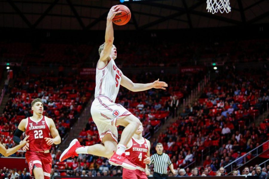 University of Utah junior guard Parker Van Dyke (5) drove to the basket in an NCAA Mens Basketball game vs. The Stanford Cardinals in Jon M. Huntsman Center in Salt Lake City, UT on Thursday, February 8, 2018.  (Photo by Curtis Lin/ Daily Utah Chronicle)