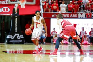 University of Utah senior guard Justin Bibbins (1) drove the ball in an NCAA Men's Basketball game vs. The Stanford Cardinals in Jon M. Huntsman Center in Salt Lake City, UT on Thursday, February 8, 2018.  (Photo by Curtis Lin/ Daily Utah Chronicle)