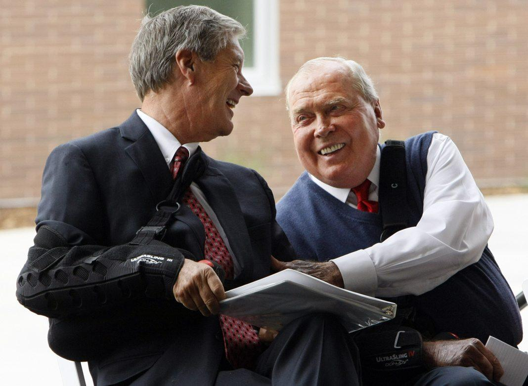 U athletic director Dr. Chris Hill, left, shares a laugh with Jon M. Huntsman at the ribbon cutting ceremony of the Jon M. and Karen Huntsman Basketball Facility, Thursday, Oct. 1, 2015.