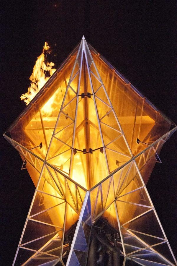 A photo from the last time the Olympic Cauldron was lit, at the 2012 10-year anniversary celebration.