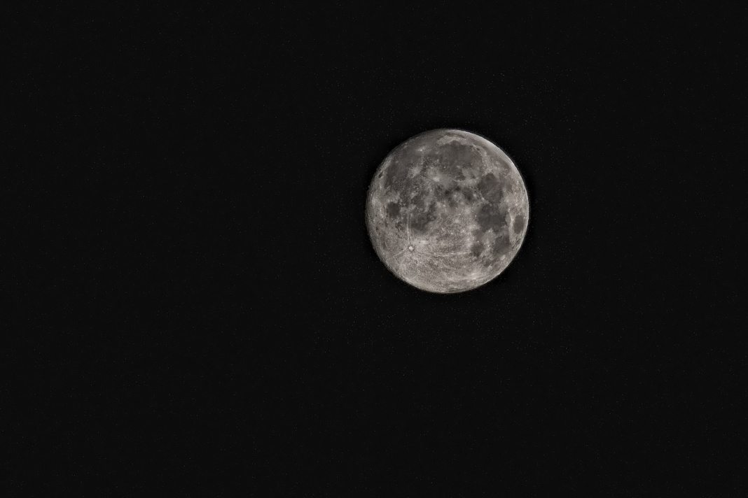 Moon in black and white