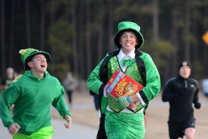 People wearing green