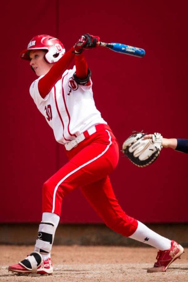 University of Utah Womens Softball Team sophomore pitcher/utility Hailey Hilburn (30) hits the game winning single in the bottom of the 7th in an NCAA Regional Game vs. The Brigham Young University Cougars at Dumke Family Softball Stadium, Salt Lake City, UT on Friday, May 19, 2017