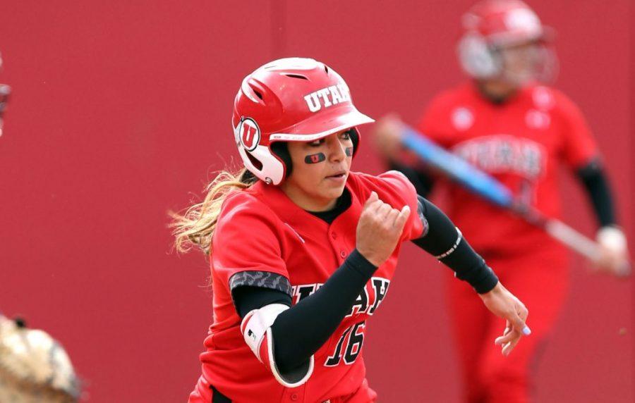 Alyssa Barrera, Utah Softball vs Arizona April 14, 2017 in Salt Lake City, UT. (Photo / Steve C. Wilson / University of Utah)