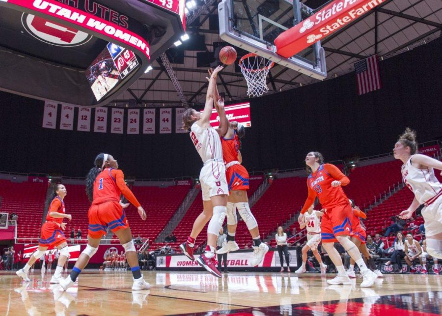 University+of+Utah+senior+forward+Emily+Potter+%2812%29+makes+a+layup+in+an+NCAA+Women%27s+Basketball+game+vs.+The+University+of+Texas+Arlington+Mavericks+at+the+Jon+M.+Huntsman+Center+in+Salt+Lake+City%2C+Utah+on+Monday%2C+Nov.+27%2C+2017