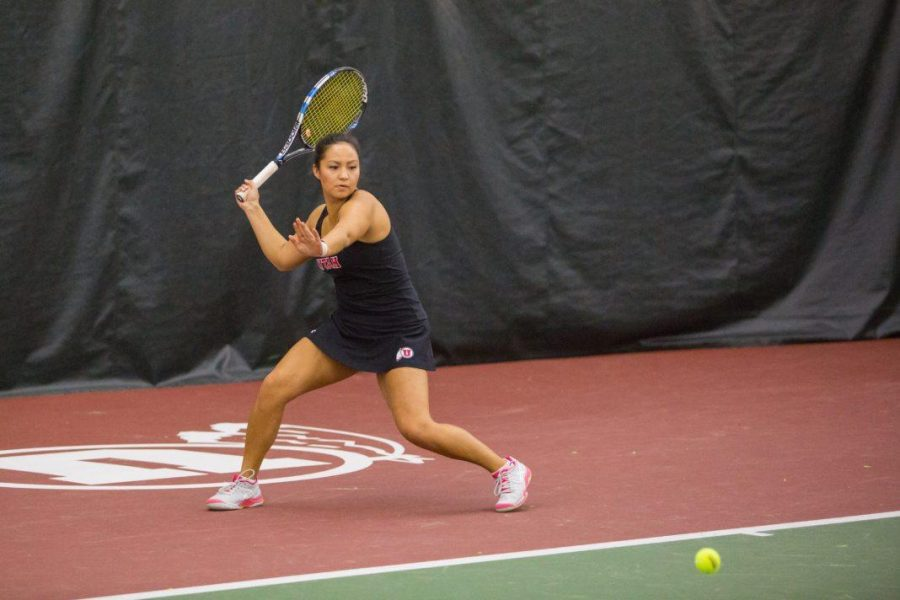 University+of+Utah+senior+Jena+Cheng+returned+the+ball+with+a+forehand+as+the+University+of+Utah+Women%27s+Tennis+team+take+on+University+of+Denver+in+Salt+Lake+City%2C+UT+on+Saturday%2C+February+17%2C+2018.%0A%0A%28Photo+by+Curtis+Lin%2F+Daily+Utah+Chronicle%29