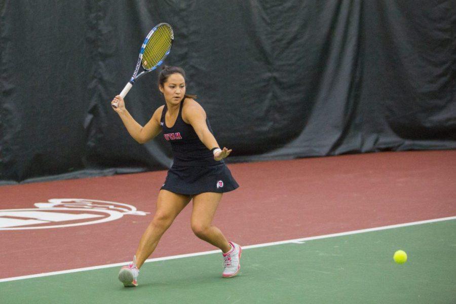 University of Utah senior Jena Cheng returned the ball with a forehand as the University of Utah Womens Tennis team take on University of Denver in Salt Lake City, UT on Saturday, February 17, 2018.