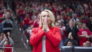 The University of Utah Women's Gymnastics Co-head coach Megan Marsden gets emotional during senior Baely Rowe's final floor routine in a meet with Stanford at the John M. Huntsman Center on Friday, March 3, 2017