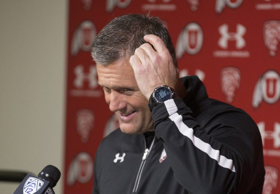 Utah head football coach Kyle Whittingham answering questions during the Signing Day press conference at the Eccles Football Center on Wednesday, Feb. 3, 2016. (Chris Ayers, Daily Utah Chronicle)