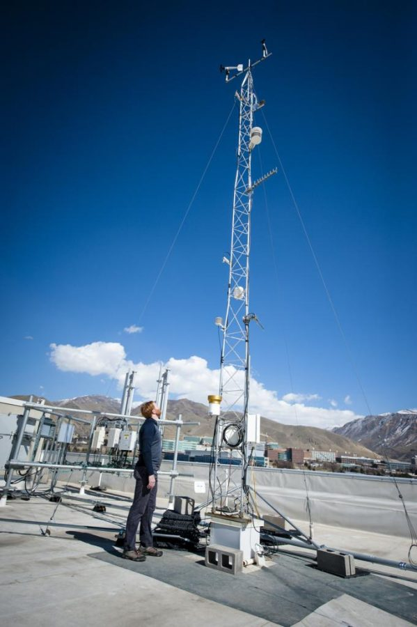 Logan Mitchell, Ph.D., Post Doctoral Scholar, looks up at the rooftop gathering station elements at the U-ATAQ (Utah Atmospheric Trace Gas and Air Quality) lab of the University of Utahs Atmospheric Sciences in the Browning Building on the University of Utah campus in Salt Lake on March 12, 2018.