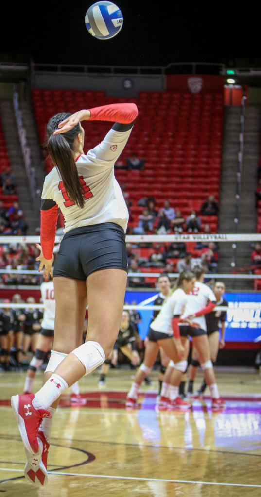 Utah outside hitter Adora Anae (14) serves up the ball during the first round of the NCAA Volleyball Tournament as the University of Utah hosts Cleveland State at the Hunstman Center in Salt Lake on Thursday, Nov. 30, 2017. Utah wins the match 3 sets to none and advances to play Purdue University tomorrow.
