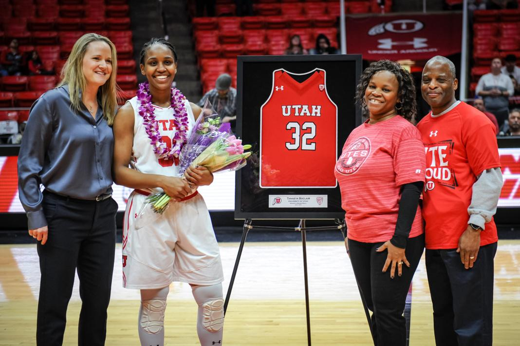 Senior Utah Utes forward Tanaeya Boclair (32) celebrating her career at the University of Utah after the final home game against the Lady Huskies from the University of Washington at the Huntsman Center in Salt Lake City, UT on Sunday, Feb. 18, 2018  (Photo by Adam Fondren | Daily Utah Chronicle)