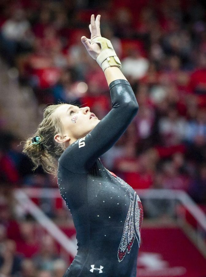 Missy Reinstadtler performs her floor routine as the University of Utah Red Rocks take on the Georgia Bulldogs in their final match of the regular season at the Huntsman Center in Salt Lake City, UT on Friday, March 16, 2018.  (Photo by Adam Fondren | Daily Utah Chronicle)