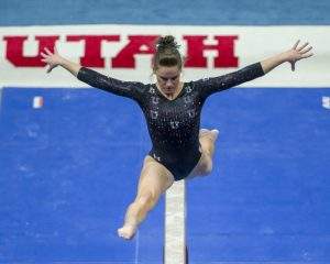 University of Utah women's gymnastics sophomore Missy Reinstadtler performs on the balance beam in an NCAA regional meet vs. Auburn, BYU, Cal, Stanford, and SUU at the Jon M. Huntsman Center in Salt Lake City, Utah on Saturday, April 7, 2018.  (Photo by Kiffer Creveling | The Daily Utah Chronicle)