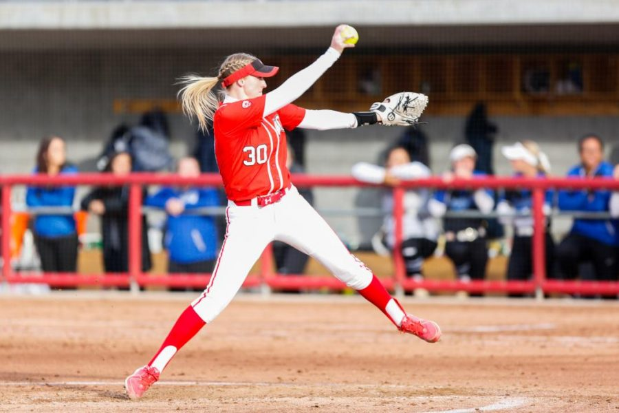 University of Utah junior pitcher Hailey Hilburn (30) pitches the ball during an NCAA Softball game vs the BYU Cougars at Dumke Family Softball Stadium in Salt Lake City, UT on Wednesday April 18, 2018.  (Photo by Curtis Lin/ Daily Utah Chronicle)