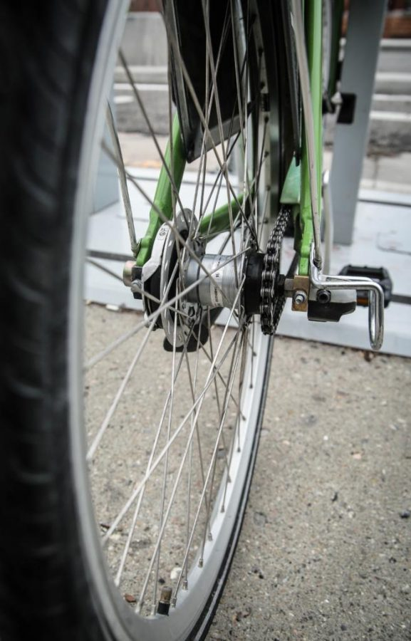 Electric bikes in downtown Salt Lake City on Thursday, April 5, 2018.