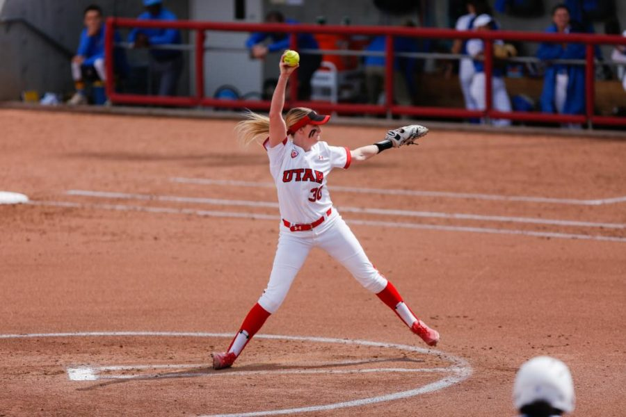 The Utes softball team defended the diamond in a three game series against UCLA. Utes pitcher Hailey Hilburn started in the third game Sat. March 31.  (Photo by: Justin Prather / Daily Utah Chronicle)