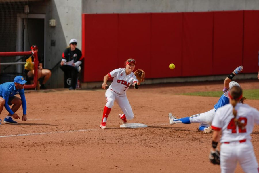 The Ute's softball team defended the diamond in a three game series against UCLA. Senior Heather Bowen defends third base.
