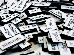 A collection of fridge poetry magnets
