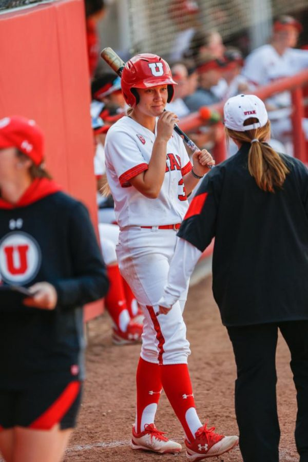 The Utes softball team defended the diamond in a three game series against UCLA. Senior Heather Bowen prepares to bat.  (Photo by: Justin Prather / Daily Utah Chronicle)