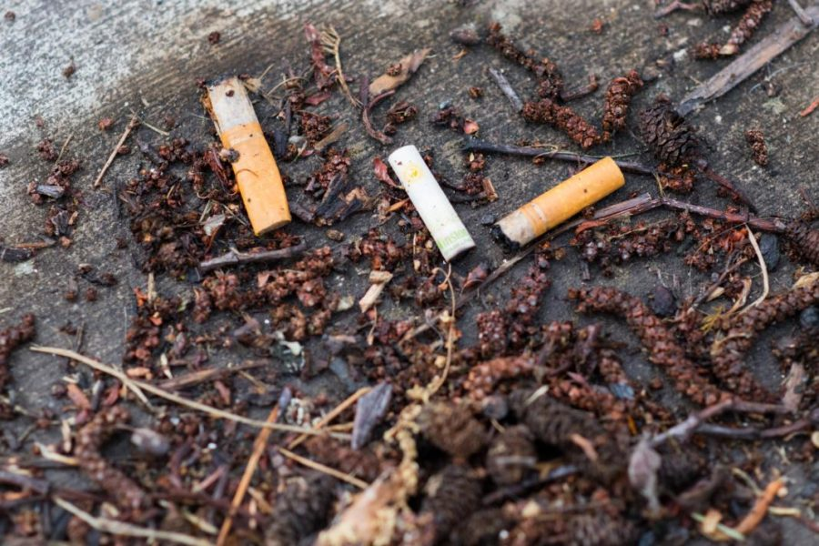 Cigarette butts around the University of Utah campus in Salt Lake City, UT on Tuesday May 08, 2018.  (Photo by Curtis Lin/ Daily Utah Chronicle)