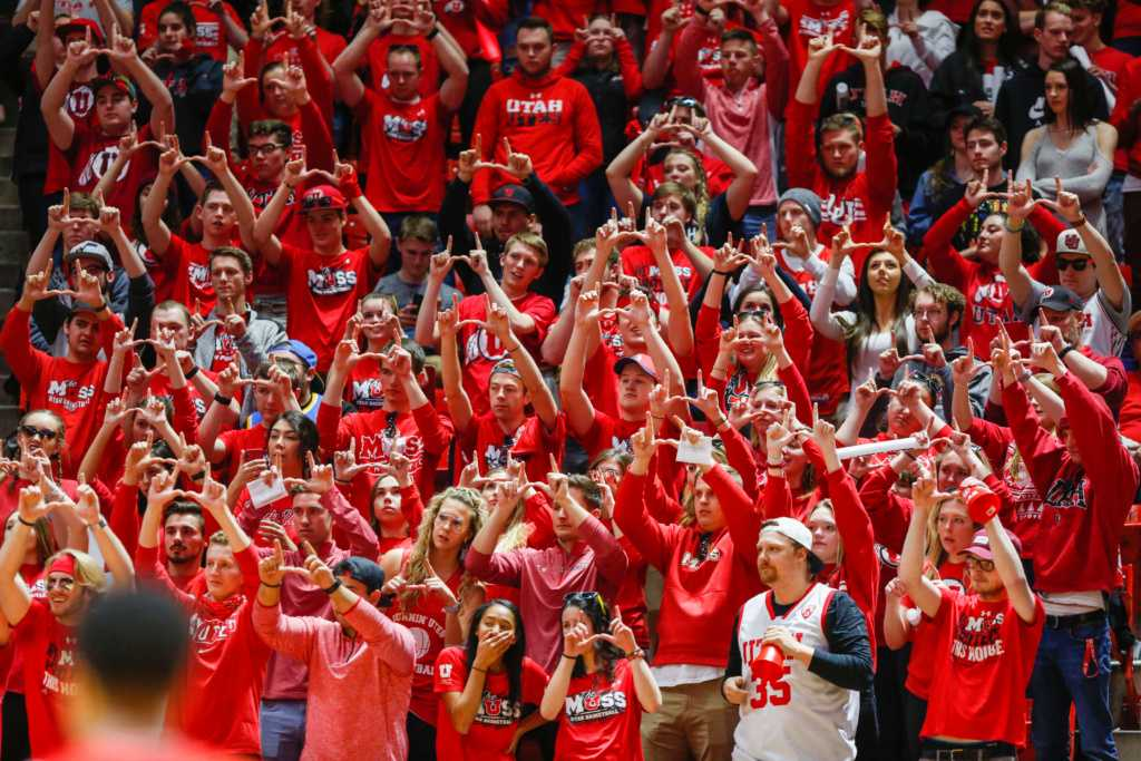 The Utes took on UCLA at home Sat. Feb. 22. The MUSS put up the U during a Ute free throw.   (Photo by Justin Prather / Daily Utah Chronicle)