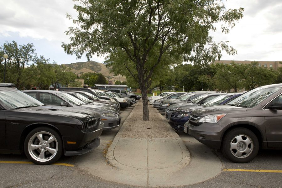 Cars parked in the union on Tuesday, September 1, 2015.