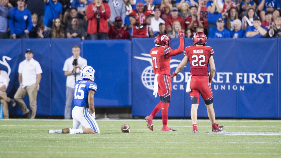 University of Utah freshman defensive back Jaylon Johnson (7) celebrates after an incomplete pass to sophomore wide receiver Aleva Hifo (15) in an NCAA football game vs. The Brigham Young University Cougars at LaVell Edwards Stadium in Provo, Utah on Saturday, Sept. 9, 2017  (Photo by Kiffer Creveling | The Daily Utah Chronicle)