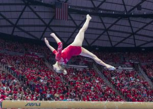 University of Utah women's gymnastics junior MaKenna Merrell-Giles performs on the balance beam in a duel meet vs. Brigham Young University at the Jon M. Huntsman Center in Salt Lake City, Utah on Friday, Jan. 5, 2018.  (Photo by Kiffer Creveling | The Daily Utah Chronicle)