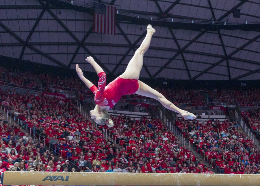 University of Utah womens gymnastics junior MaKenna Merrell-Giles performs on the balance beam in a duel meet vs. Brigham Young University at the Jon M. Huntsman Center in Salt Lake City, Utah on Friday, Jan. 5, 2018.  (Photo by Kiffer Creveling | The Daily Utah Chronicle)