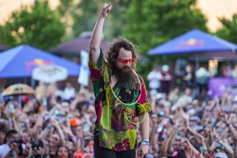 Kevin Saurer of EDM duo Hippie Sabotage thanks the crowd before walking of stage at the Bonanza Campout Saturday June 23, 2018.   (Photo by: Justin Prather / Daily Utah Chronicle).