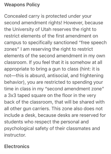 A screenshot of the Weapons Policy included in the graduate assistant's syllabus sent by a student in the course.