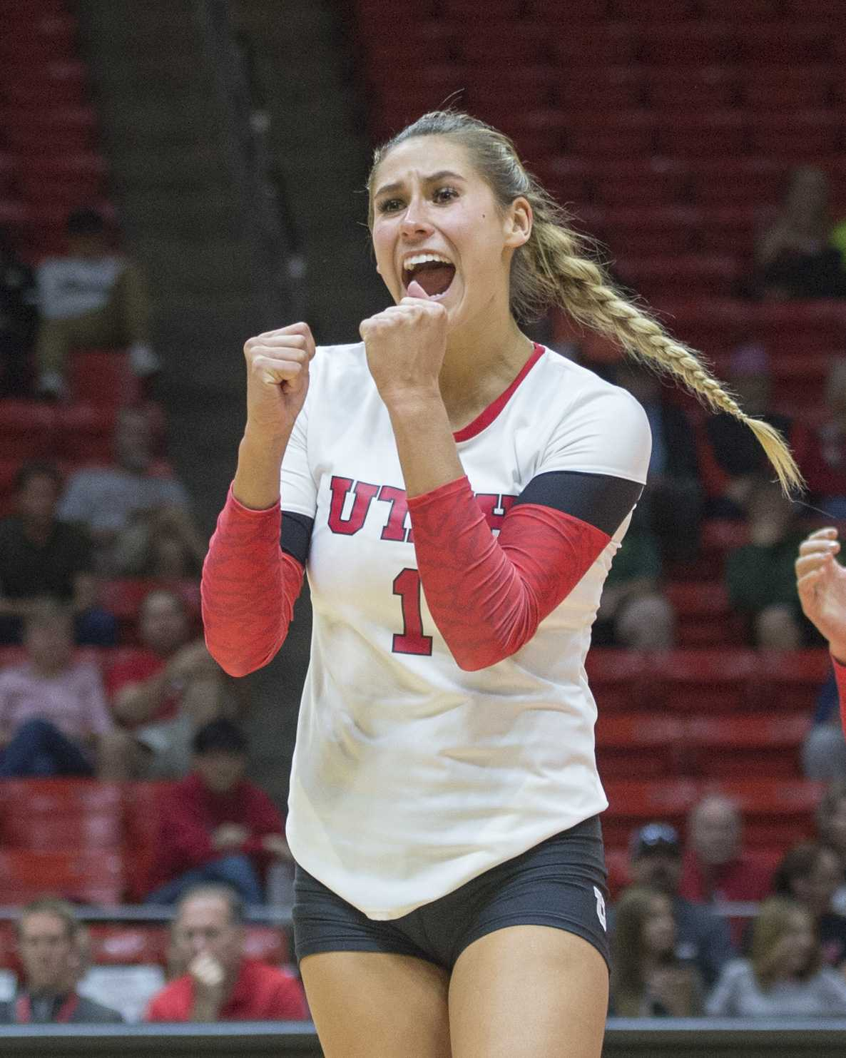 University of Utah Volleyball freshman outside hitter Dani Barton (1) celebrates after her kill in a set of matches vs. The Oregon Ducks at the Huntsman Center in Salt Lake City, UT on Friday, Sept. 29, 2017  (Photo by Kiffer Creveling | The Daily Utah Chronicle)