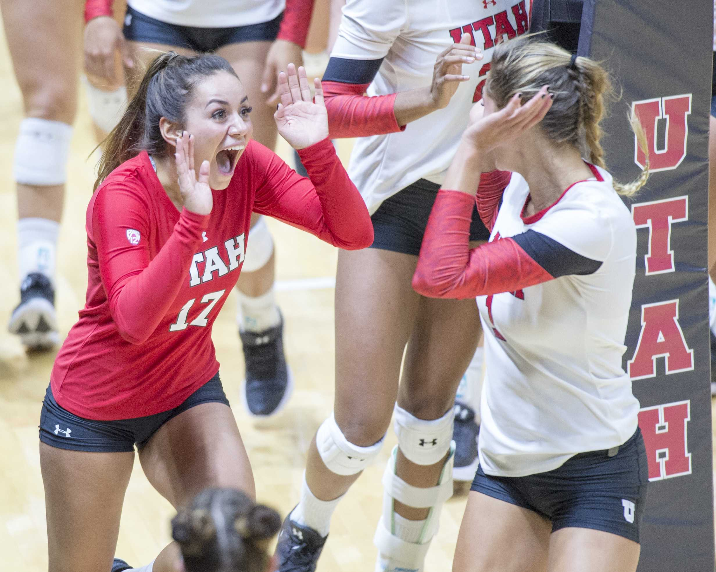 University of Utah Volleyball sophomore libero/defensive specialist Brianna Doehrmann (17) celebrates after winning the third set in a set of matches vs. The Oregon Ducks at the Huntsman Center in Salt Lake City, UT on Friday, Sept. 29, 2017  (Photo by Kiffer Creveling | The Daily Utah Chronicle)