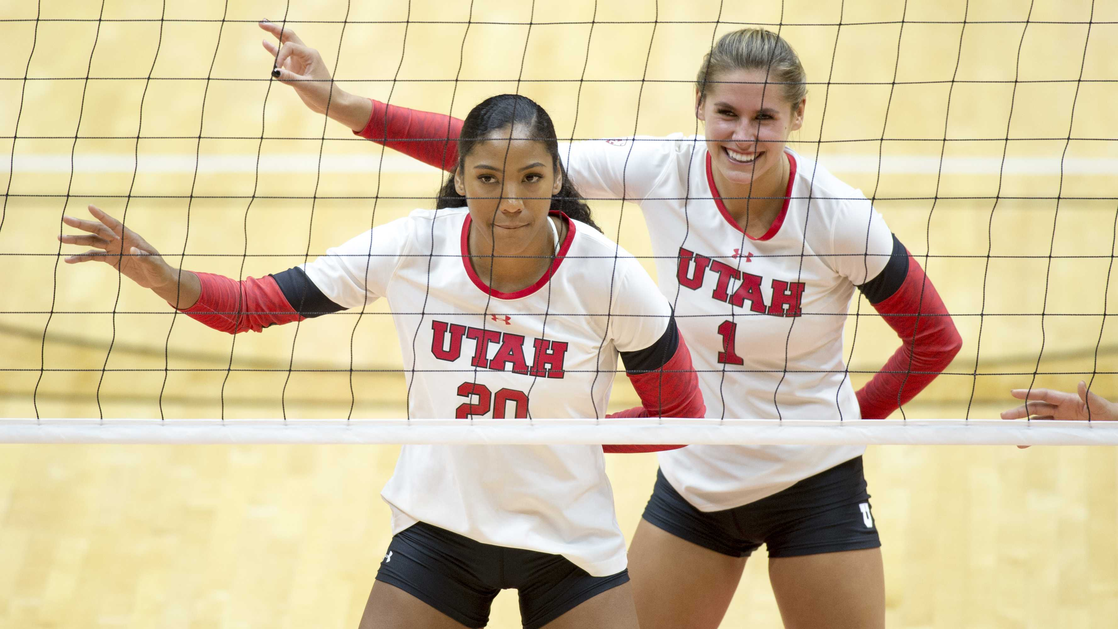 University of Utah Volleyball senior middle blocker Tawnee Luafalemana (20) and freshman outside hitter Dani Barton (1) line up before a serve in a set of matches vs. The Oregon Ducks at the Huntsman Center in Salt Lake City, UT on Friday, Sept. 29, 2017  (Photo by Kiffer Creveling | The Daily Utah Chronicle)