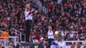 The University of Utah marching band performs at halftime during an NCAA Football game vs. the Washington Huskies at Rice Eccles Stadium in Salt Lake City, Utah on Saturday, Sept. 15, 2018. (Photo by Kiffer Creveling | The Daily Utah Chronicle)