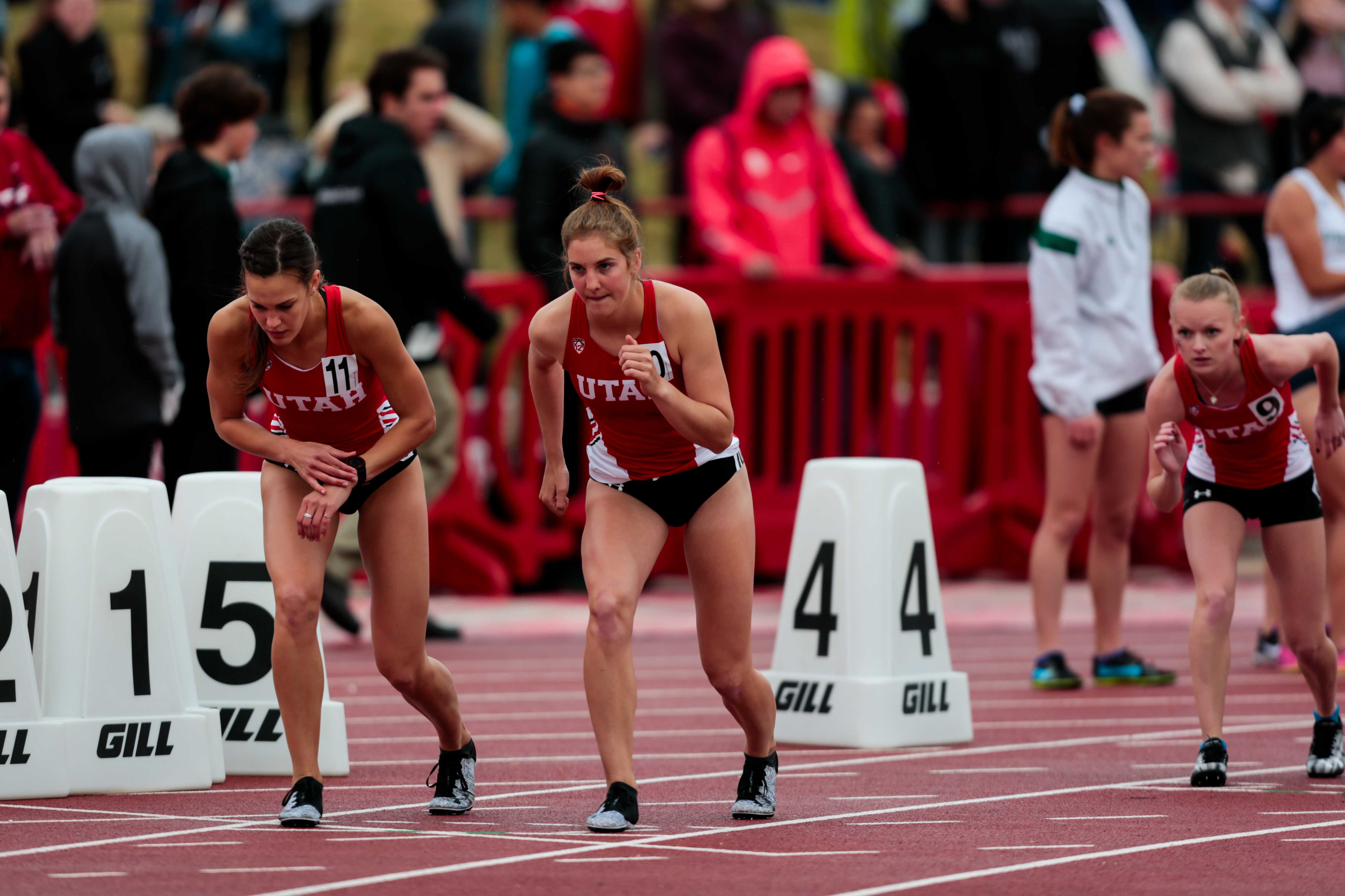 University of Utah sophomore distance runner Nicole Griffiths runs the 800 meter run as The University of Utah and Weber State host the Utah Spring Classic at the McCarthey Family Track and Field Complex in Salt Lake City, UT on Friday April 06, 2018.  (Photo by Curtis Lin/ Daily Utah Chronicle)