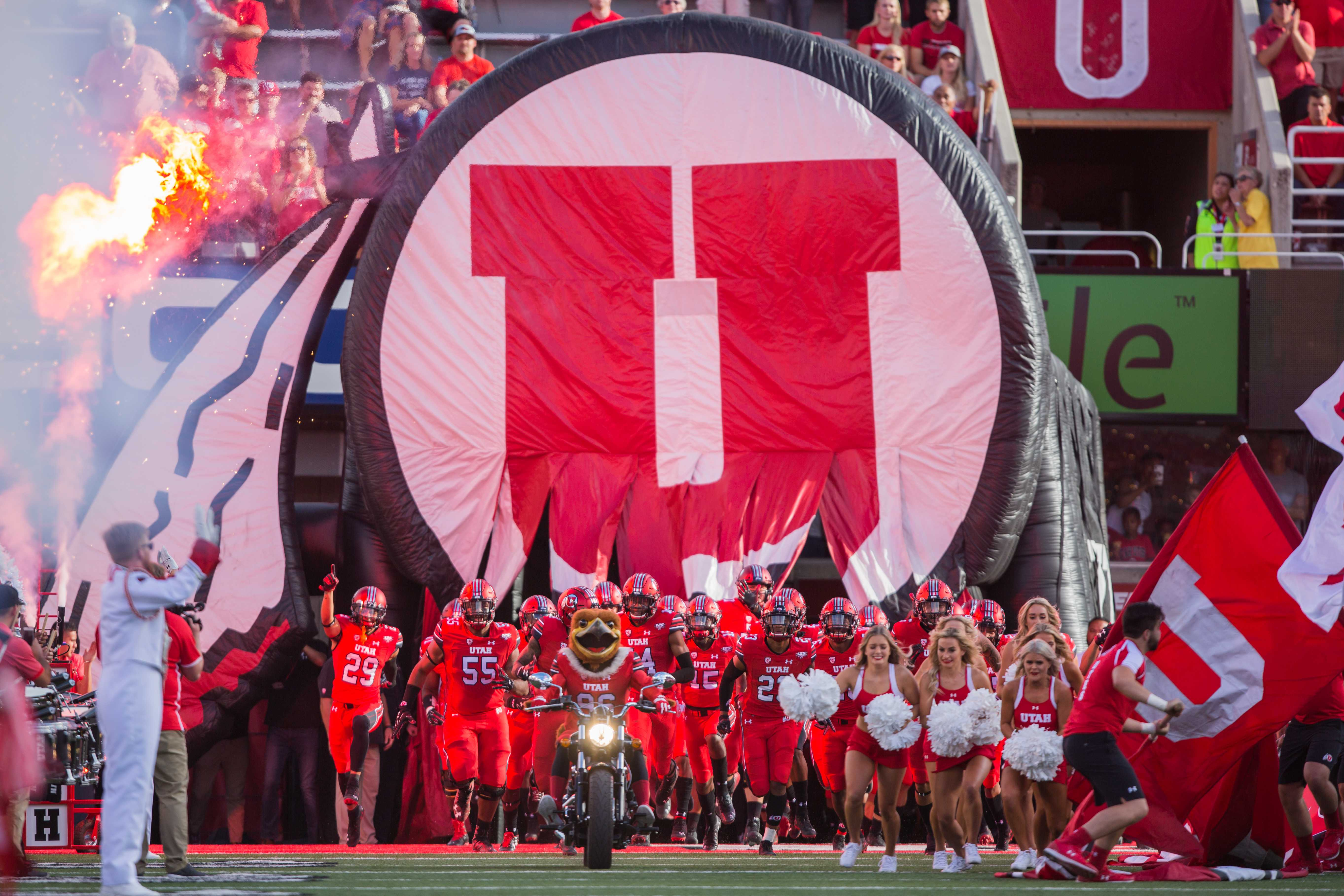 The University of Utah football team marches onto the field during the NCAA football game vs. Weber State at Rice-Eccles Stadium in Salt Lake City, UT on Thursday August 30, 2018.  (Photo by Curtis Lin/ Daily Utah Chronicle)
