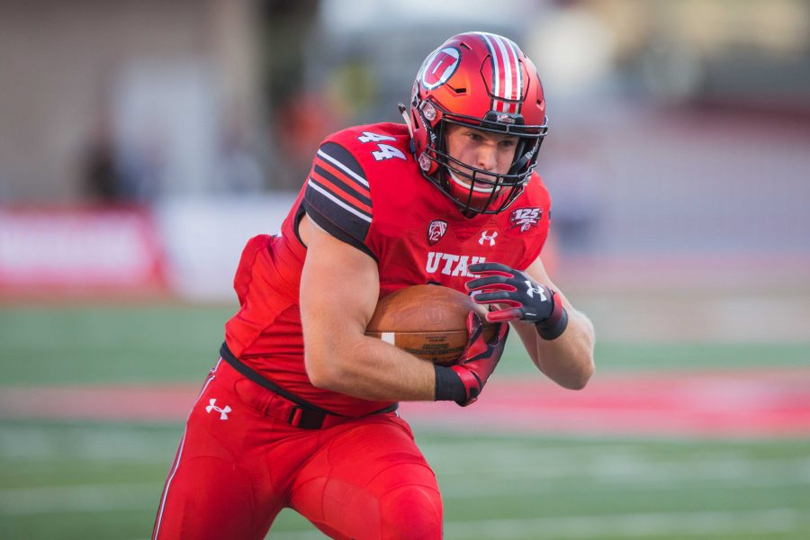 University of Utah junior tight end Jake Jackson (44) ran after a catch in an NCAA football game vs. Weber State at Rice-Eccles Stadium in Salt Lake City, UT on Thursday August 30, 2018.  (Photo by Curtis Lin/ Daily Utah Chronicle)
