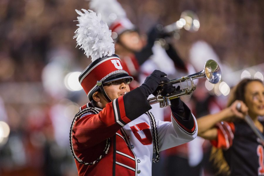 The University of Utah Marching Band performed in an NCAA football game vs. Washington at Rice-Eccles Stadium in Salt Lake City, UT on Saturday September 15, 2018.  (Photo by Curtis Lin   Daily Utah Chronicle)